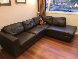 John Lewis Felix Corner Sofa LEATHER brown chaise end RHF