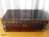 LARGE VINTAGE BRASS BOUND MAHOGANY WOODEN BOX CHEST SOME DAMAGE