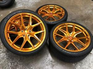 19 Staggered POLISHED GOLD Wheels 5x114.3 and Staggered Tires (JAPANESE CARS) Calgary Alberta Preview