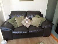 3+2 brown leather sofas