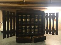 Lovely vintage spice rack.includes all original jars,cups and drawers