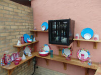 set of plastic crockery (unused). outdoor. swimming pool.festival. party. picnic