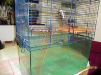 large, med, and small gerbil/hamster cages