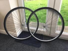 Vintage Raleigh wheels, including inner tubes and new Schwalbe Lugano tyres