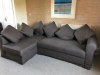 Brown fabric corner sofa bed