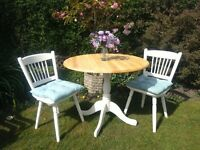 Pine round table and 2 chairs
