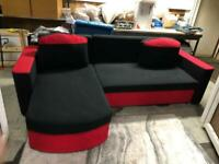 🚚🚚Black & Red Corner Sofa Bed For Sale Free Delivery Radius Apply