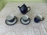 Denby Baroque tea pot and cups and saucers