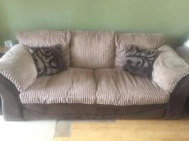 3 seater Fabric and Leather Sofas x 2