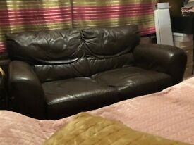 2Seater Brown leather sofa used - brown - up cycle / refurb project / new cover