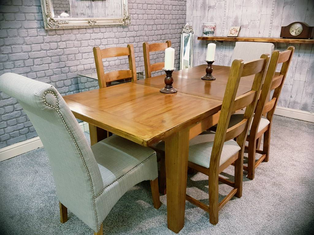 Solid Oak Extendable Dining Table 6 Chairs