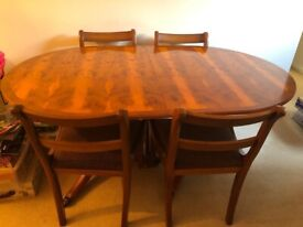 Yew tree Dining table and 6 chairs