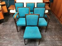 Set of 6 Vintage Teal Dining Chairs. Retro Mid Century
