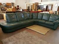 Large green left corner sofa