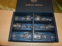 6 X BOHEMIA CRYSTAL WINE GLASSES