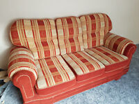 3 seater fabric sofa and 2 armchairs for sale