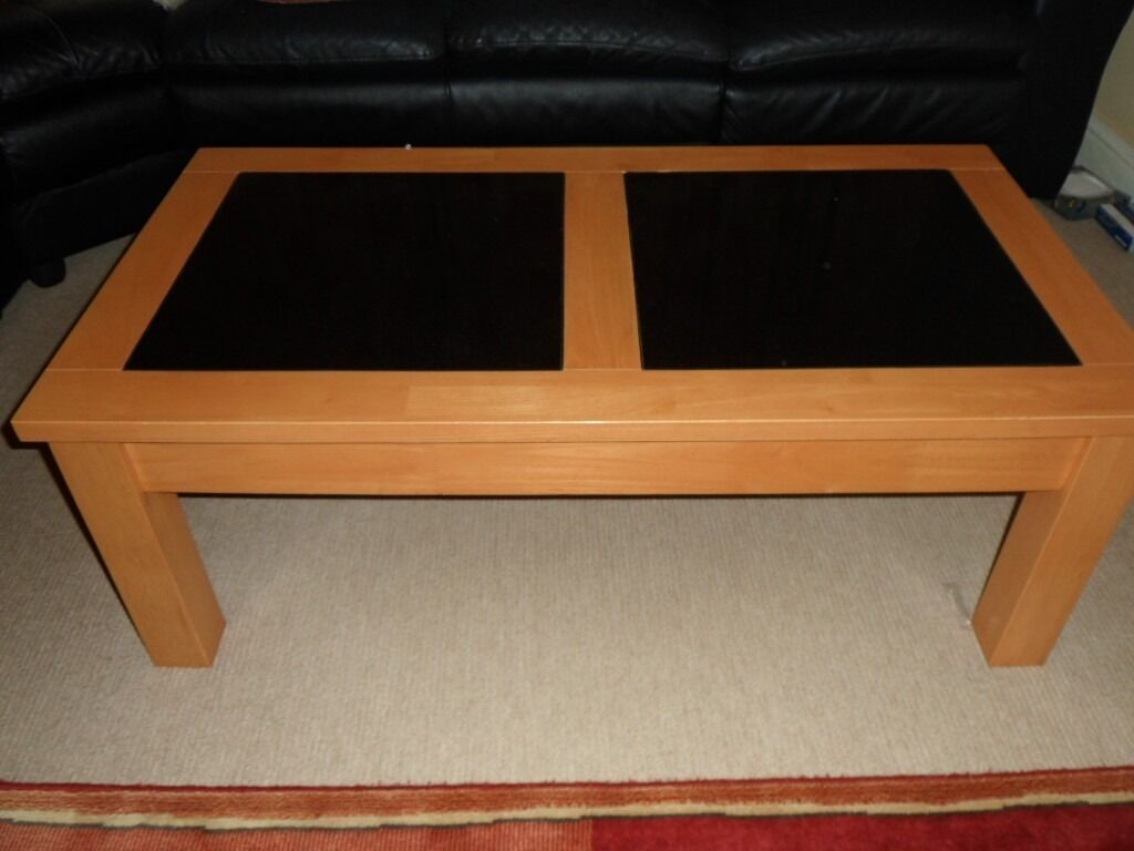 Solid Beech Coffee Table With Granite Tile Inlay In Stevenage - Coffee table with tile inlay