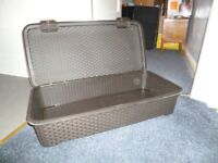 Under bed storage box, Keter brown, wicker appearance