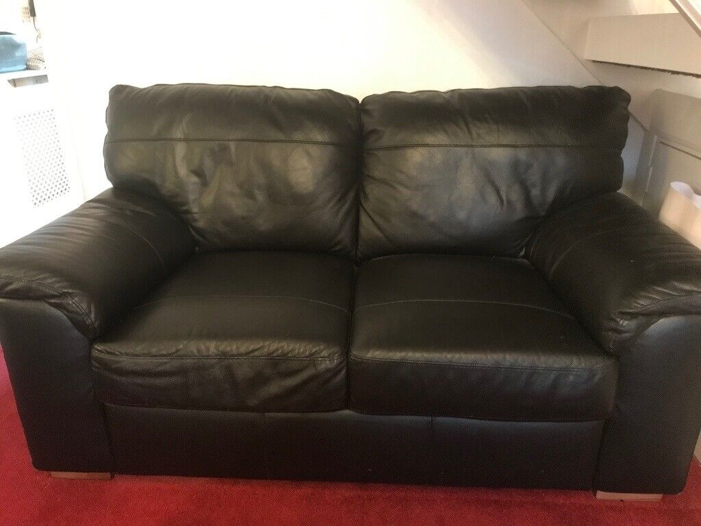 Astonishing Sofa 2 Seater Black Leather In Benfleet Essex Gumtree Gmtry Best Dining Table And Chair Ideas Images Gmtryco