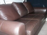 3 seater leather brown sofa