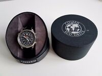 CITIZEN ECO-DRIVE CHRONOGRAPH AT0360-50L WATCH - NEW BLACK LEATHER STRAP - VERY GOOD CONDITION