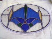 Stained glass door panel