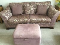 Three seater sofa, snuggler, chair and footstool
