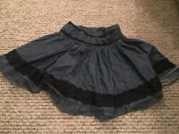 Size 10 Oasis denim skirt with black lace detail