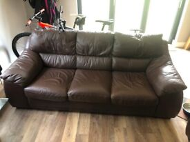 Brown Leather sofa in good condition £100