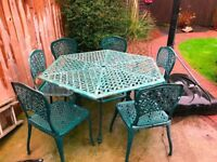 PATIO/GARDEN TABLE AND SIX CHAIRS CAST ALUMINIUM/IRON ALL WEATHER