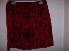The Kooples Silk Skirt - Red Animal Print - Size L (10 - 12) - RRP £135