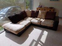 Brown/beige 5 seater fabric corner sofa