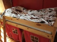Childrens Pine Cabin Bed frame with under bed tent feature