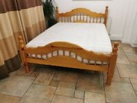 Solid wood King size bed with mattress as new!