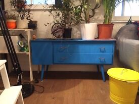 Upcycled blue designer cupboard and drawer unit.