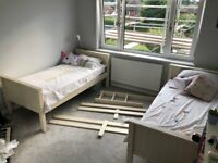 Off White Wooden Bunk/Single Beds with storage