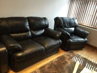 2 seater and single recliner sofa set in black leather top quality