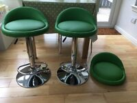 2 Green Bar Stools Plus additional Seat