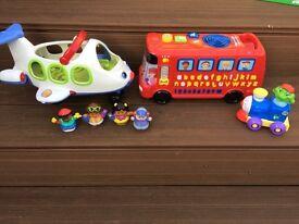 Little people aeroplane + phonics bus + leap frog train