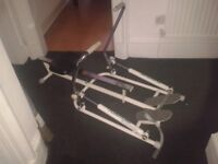 ONLY £10 Rowing machine paisley - folding adjustable rail mounted pneumatic arm row slider excersize