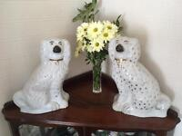 Pair large vintage Staffordshire style china dogs