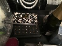 LYCD ANIMAL PRINT DIAMONTE TRIM PURSE NEW & glitter max factor nail glitter £6 BNWT