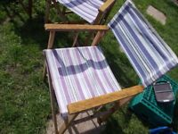 4 x folding striped directors chairs