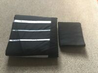 Double duvet set black with satin ribbon stripes (cover & 2 pillow cases)