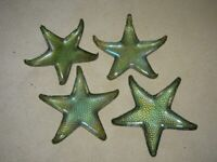 BRAND NEW SET OF 4 GREEN GLASS STARFISH BOWLS DISHES WORTH £25