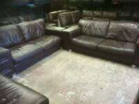 Reduced!!!! two 3 seater DFS chocolate brown thick genuine leather sofas