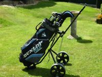 Complete set golf clubs and trolley