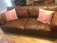 Two Brown Soft Leather Sofas - 3 and 2 seater