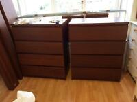 5 pieces of IKEA Malm Brown bedroom furniture - bed, 2 bedside units & 2 chest of draws