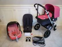Bugaboo Cameleon Pram/Pushchair-Grey/Bright Pink Covers C/W car seat & Adaptors-Excellent Condition